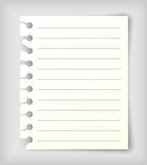 Note paper sheet with lines.