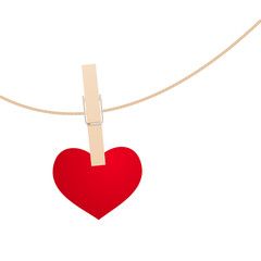 Heart and clothespin