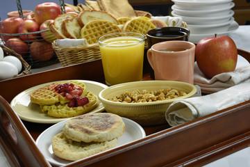 Continental Breakfast On Wood Tray
