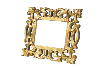 Golden picture frame in perspective with clipping path