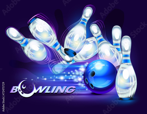 Bowling game over blue - 72475729