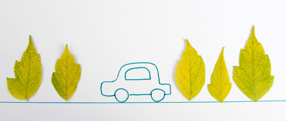 Autumn leaves with painted car isolated on white