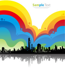 Colorful City Background Vector Illustration