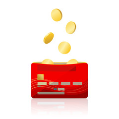 Bank card and gold coins