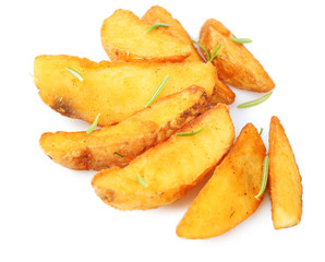 Homemade fried potato isolated on white
