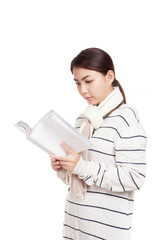 Beautiful Asian girl with scarf  read a book