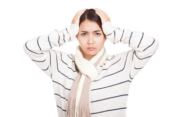 Beautiful Asian girl with scarf got headache