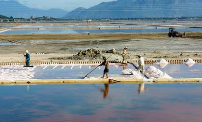 Asian farmer, salt plantation, Vietnamese salina