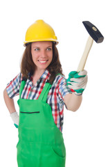 Young woman with hammer on white