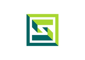 square,geometry,logo,abstract,letter S,cube,business connection