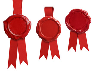 Red wax seal signets collection with ribbon or bow isolated