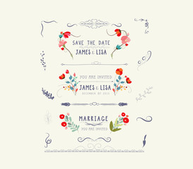 editable wedding floral vintage design