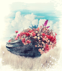 Old Boat With Flowers