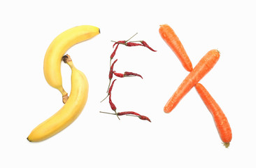 Sex, written with vegetables and fruit