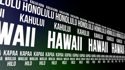 Hawaii State and Major Cities Scrolling Banner