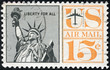 Stamp depicting an image of the Statue of Liberty