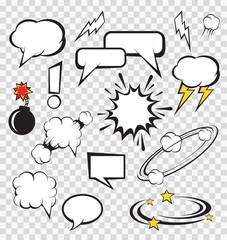Vector comic speech bubbles set