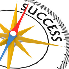 Compass with success word
