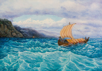 Oil painting on canvas. The rook with the vikings