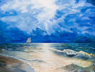 Oil painting on canvas. Drawing of boat is under sail