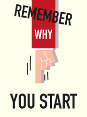 Word REMEMBER WHY YOU START vector illustration