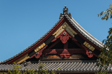 detail of traditional Shinto shrine rooftop