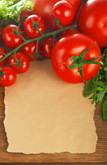 vegetables on a wooden background