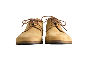 Front view of Brown Man Suede Leather Shoes isolated on white