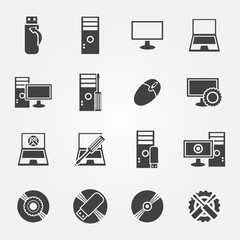 Computer repair service and maintenance icon set