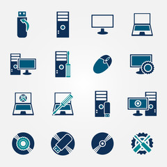 Flat computer repair icons set