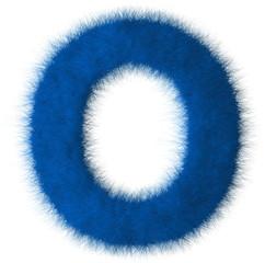 Blue shag O letter isolated on white background