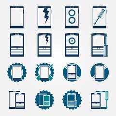 Mobile phone repair icons set