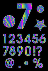 Number Set, Multicolored Triangle Vector