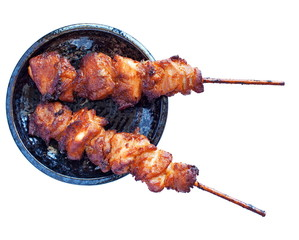 Japanese grill chicken yakitori with wood skewer