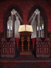 Wnętrze kaplicy ze starą księgą i świecami