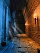 Korytarz w starym budynku oświetlony pochodniami