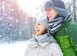 Winter Vacation. Happy Couple Having Fun Outdoors
