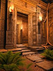 Wejście do starej świątyni nocą