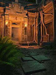Starożytna świątynia nocą oświetlona pochodniami