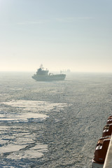Sea ice stranded ship