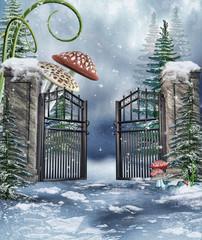 Brama do ogrodu z baśniowymi grzybami zimą
