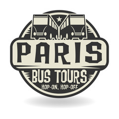 Abstract stamp with text Paris, Bus Tours