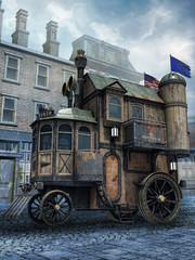 Dom na kołach na tle ulicy starego miasta