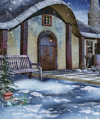 Zimowa sceneria z ławką przed kolorową chatką