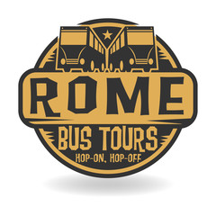 Abstract stamp with text Rome, Bus Tours