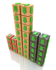 3D multicolored cube with an arrow pointing the direction. Conce