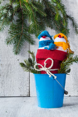 snowmen board wooden Christmas winter plush duo