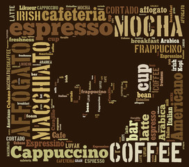 Word cloud of words related to coffee in shape of coffee mug