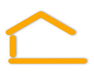Yellow silhouette of the house with a gable roof as a logo - svg