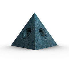3d blue pyramid grunge old speaker sound system